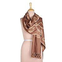 Reversible Jamawar wool shawl, 'Subtle Garden in Beige-Brown' - Leaf Motif Reversible Jamawar Wool Shawl in Beige-Brown