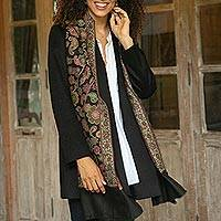 Wool shawl, 'Floral Magic in Black' - Floral Wool Shawl in Black from India