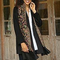 Wool shawl, 'Midnight Garden'