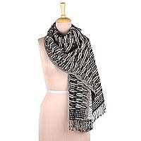 Jamawar wool shawl, 'Creative Patterns' - Tri-Tone Jamawar Wool Shawl Crafted in India