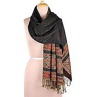 Reversible Jamawar wool shawl, 'Geometric Creativity' - Reversible Jamawar Wool Shawl in Black from India