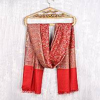 Jamawar wool shawl, 'Paisley Glamour' - Paisley Motif Jamawar Wool Shawl in Poppy from India