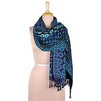 Jamawar wool shawl, 'Blue Bubbles' - Bubble Pattern Jamawar Wool Shawl in Blue from India