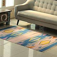Wool area rug, 'Cute Fusion' (4x6) - Handwoven Geometric Wool Area Rug from India (4x6)