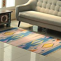 Wool area rug, 'Cute Fusion' (4x6)