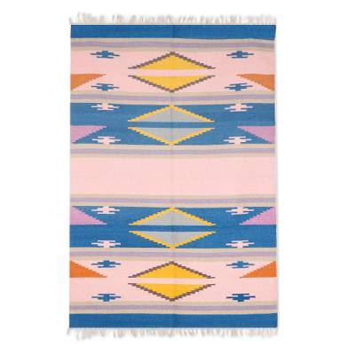 Wool area rug, 'Cute Fusion' (4x6) - Handwoven Geometric Wool Area Rug from India (4x6)