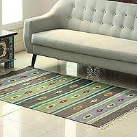 Wool area rug, 'Garden of Stars' (4x6) - Striped Pattern Geometric Wool Area Rug from India (4x6)
