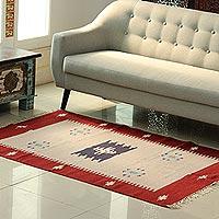 Wool area rug, 'Khaki Geometry' (4x5.5)