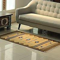 Wool area rug, 'Beige Delight' (3x5) - Beige and Olive Wool Area Rug from India (3x5)