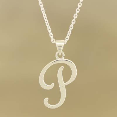 Sterling silver pendant necklace, 'Dancing P' - Sterling Silver Letter P Pendant Necklace from India