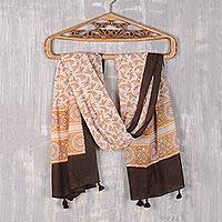 Block-printed cotton scarf, 'Saffron Garden' - Leaf Motif Block-Printed Cotton Scarf in Saffron from India