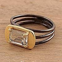 Gold accented prasiolite single-stone ring, 'Modern Prism'