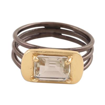 Gold accented prasiolite single-stone ring, 'Modern Prism' - Gold Accented Prasiolite Single-Stone Ring from India