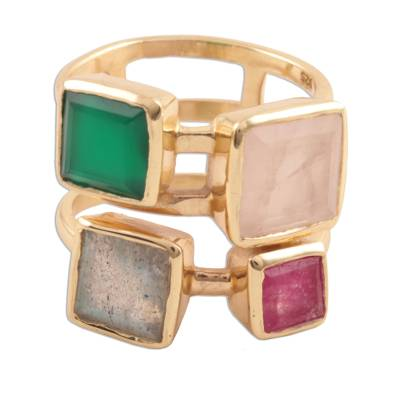 Gold plated multi-gemstone cocktail ring, 'Sparkling Squares' - Gold Plated Multi-Gemstone Cocktail Ring from India