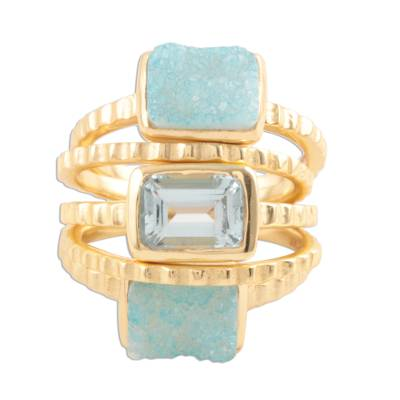Gold plated sterling silver rings, 'Blue Rectangles' (set of 5) - Gold Plated Sterling Silver Rings from India (Set of 5)