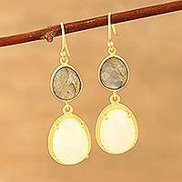 Gold plated rainbow moonstone and labradorite dangle earrings, 'Misty Evening'