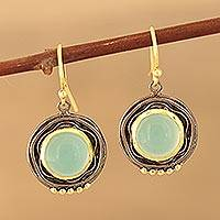Gold accented chalcedony dangle earrings, 'Appealing Modernity' - Gold Accented Chalcedony Dangle Earrings from India