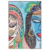 'Eternal Love' - Signed Folk Art Painting of Radha and Krishna from India