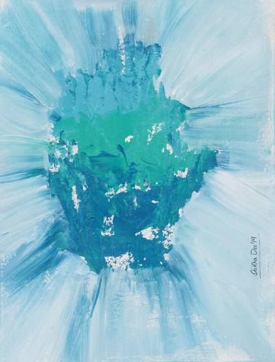 'Iceberg' - Signed Abstract Watercolor Painting in Blue from India