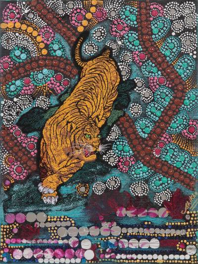 'Bewitching and Serene II' - Folk Art Painting of a Tiger in Mixed Media from India