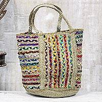 Recycled cotton and jute tote bag, 'World of Color' - Braided Jute and Recycled Cotton Tote Bag