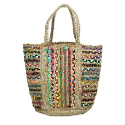 Braided Jute and Recycled Cotton Tote Bag