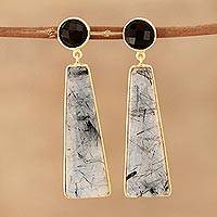 Gold plated tourmalinated quartz and onyx dangle earrings, 'Elegant Towers' - Gold Plated Tourmalinated Quartz and Onyx Dangle Earrings
