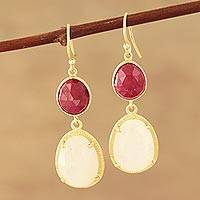 Gold plated rainbow moonstone and ruby dangle earrings, 'Rosy Evening' - Gold Plated Rainbow Moonstone and Ruby Dangle Earrings