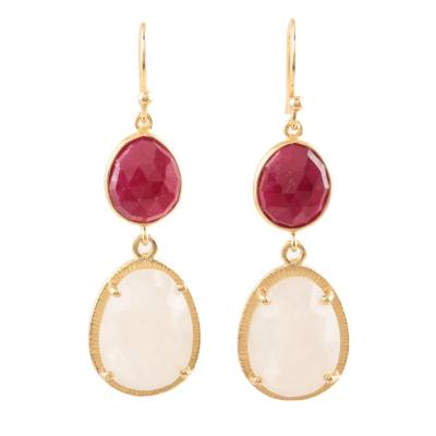 Gold Plated Rainbow Moonstone and Ruby Dangle Earrings