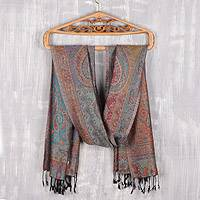 Reversible modal jacquard shawl, 'Paisley Delight' - Reversible Modal Jacquard Shawl in Muted Jewel Tones