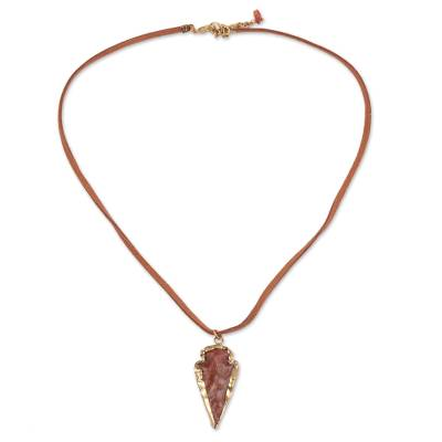 Brown Agate Arrowhead Pendant Necklace from India