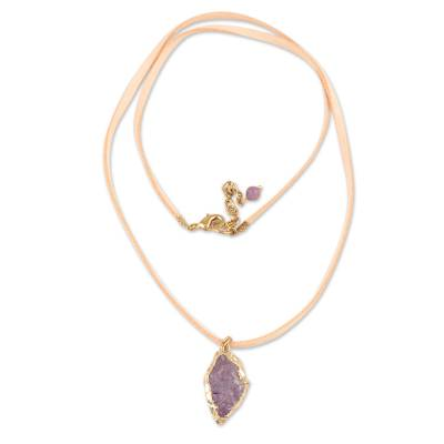 Purple Quartz Nugget Pendant Necklace from India