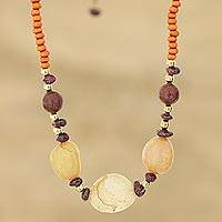 Quartz and wood beaded necklace, 'Agra Sunset' - Quartz and Orange Haldu Wood Beaded Necklace from India