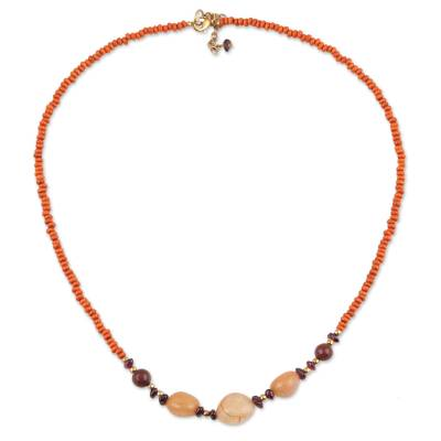 Quartz and Orange Haldu Wood Beaded Necklace from India