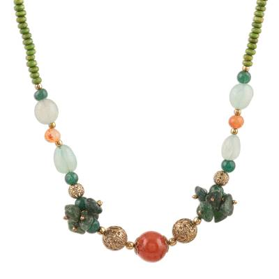 Quartz and Agate Beaded Long Necklace Crafted in India