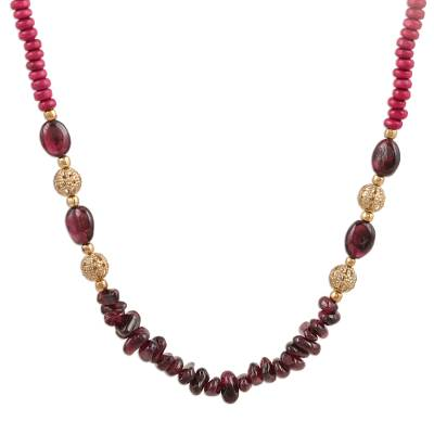 Garnet and Quartz Beaded Long Necklace from India