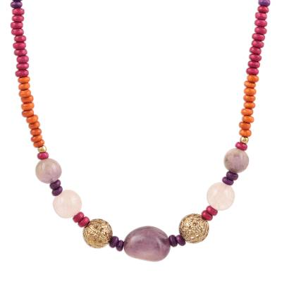 Colorful Quartz and Wood Beaded Long Necklace from India