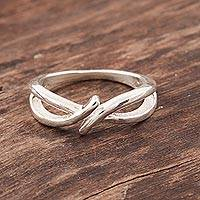 Sterling silver band ring, 'Illusory Knot' - Knot Shape Sterling Silver Band Ring from India