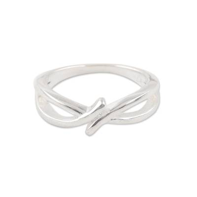 Knot Shape Sterling Silver Band Ring from India