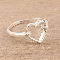 Sterling silver band ring, 'Luminous Heart' - Heart-Shaped Sterling Silver Band Ring from India