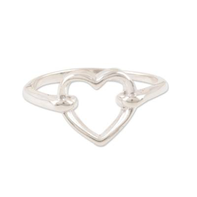 Heart-Shaped Sterling Silver Band Ring from India
