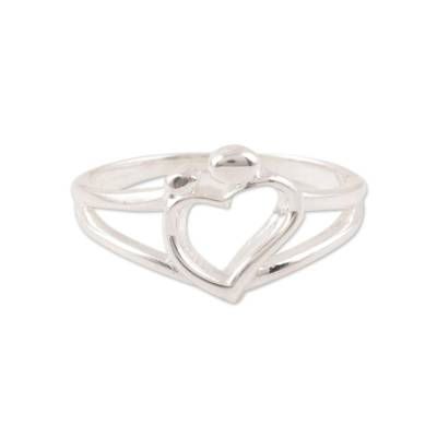 Sterling silver band ring, 'Expression of Romance' - Sterling Silver Heart Band Ring Crafted in India