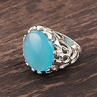 Chalcedony domed ring, 'Lustrous Coral'