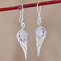 Rose quartz dangle earrings, 'Feathery Dance' - Feather-Shaped Rose Quartz Dangle Earrings from India