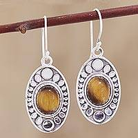Tiger's eye dangle earrings, 'Elliptical Beauty' - Elliptical Tiger's Eye Dangle Earrings Crafted in India