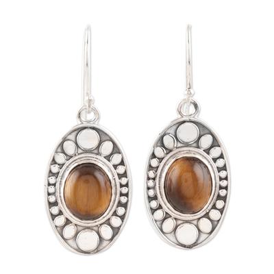 Tiger's eye dangle earrings, 'Elliptical Beauty' - Elliptical Tiger's Eye Dangle Earrings Crafted in India