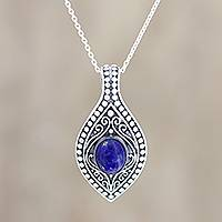 Lapis lazuli pendant necklace, 'Mughal Blue' - Patterned Lapis Lazuli Pendant Necklace from India