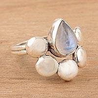 Rainbow moonstone cocktail ring, 'Misty Bubbles' - Teardrop Rainbow Moonstone Cocktail Ring from India