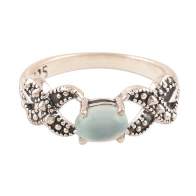 Chalcedony band ring, 'Glorious Gleam' - Wavy Chalcedony Band Ring Crafted in India