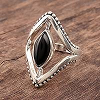Onyx cocktail ring, 'Magical Kite' - Marquise Onyx Cocktail Ring Crafted in India